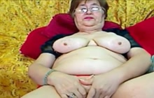 Big breasted grandma on webcam